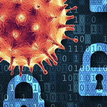 Covid 19 Virus over picture of locks